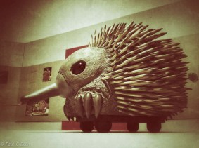 A model of the Echidna Float used in the lunchtime parade. - On display at Museum of Brisbane, City Hall.